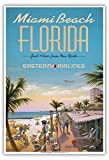 Miami Beach, Floride - Eastern Airlines - À seulement 10 h de New York - Affiche ancienne vintage Companie aérienne Poster aviation by Kerne Erickson - Reproduction Professionelle d'art Master Art Print - 33cm in x 48cm...