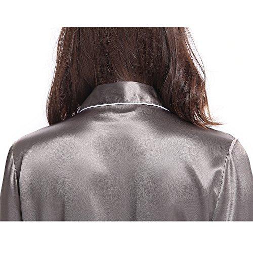 995e4b74d7 LILYSILK Seide Schlafanzug Nachtwäsche Damen Pyjama Set 3 Teilig mit Weißem  Besatz Kurz/Lang von 22 ...