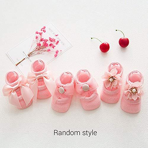 Kongqiabona Baby Socken 0 24 Monate Kleinkind Mädchen Söckchen Lace Bow Tie Rüschen Trim Rutschfeste Baumwolle Crew Socken