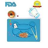 Splink Baby-Tischsets Silikon Rutschfester Teller Essunterlage Platzdeckchen Fütterung, FDA, BPA frei Teller für Babys, Kleinkinder
