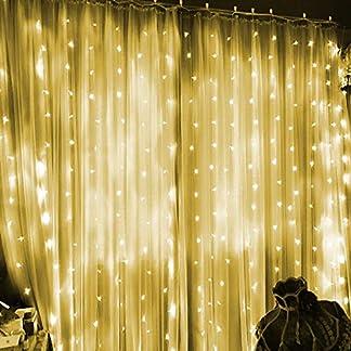 Cortina de Luces, 3 * 3M 300LEDs Luces de Cortina, LED Cadena de luces con 8 Modos de Luces Blanco Cálido Cortina Luces LED con USB para Decoración de Navidad, Festival,Fiestas, Casa,Jardín,Boda