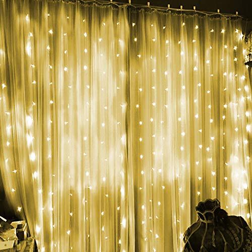 LED Lichtervorhang, 300 LEDs 9.84ft * 9.84ft Leuchtvorhang Vorhang Licht LED Lichterkette mit 8 Leuchtmodi und Dimmbare Fernbedienung Wasserdicht Weinachtsbeleuchtung für Party Deko Hochzeit (White)