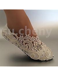 JINGXINSTORE Pisos talón Blanco Perla Cordón zapatos de boda novia tamaño bombas 5-12,pisos,US 5