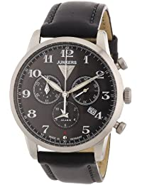 Junkers Herren-Armbanduhr XL Dessau 1926 Flatline Chronograph Quarz Leder 63802