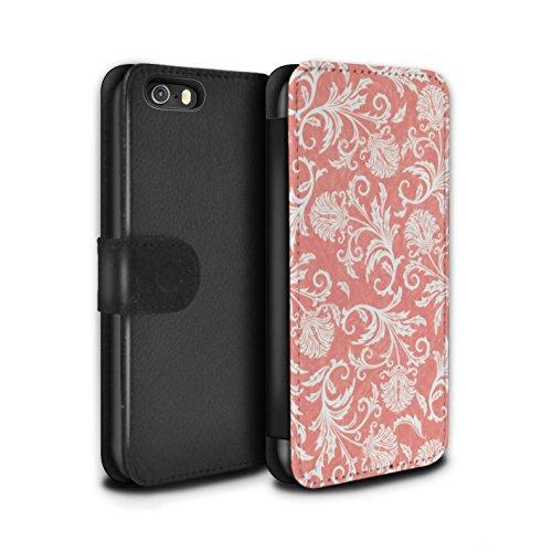 Stuff4 Coque/Etui/Housse Cuir PU Case/Cover pour Apple iPhone SE / Pack (10 modèles) Design / Fleurs Collection Fond Rouge