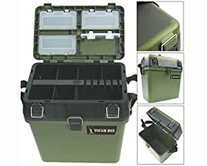 Fishing tackle seat box includes padded strap seat pad for Amazon fishing equipment