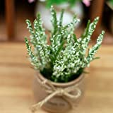 GSYLOL 1 Satz Topf Lavendel Pflanze Künstliche Blumen Bonsai Keramik Blumentopf Hochzeit Dekorative Floristik, weiß