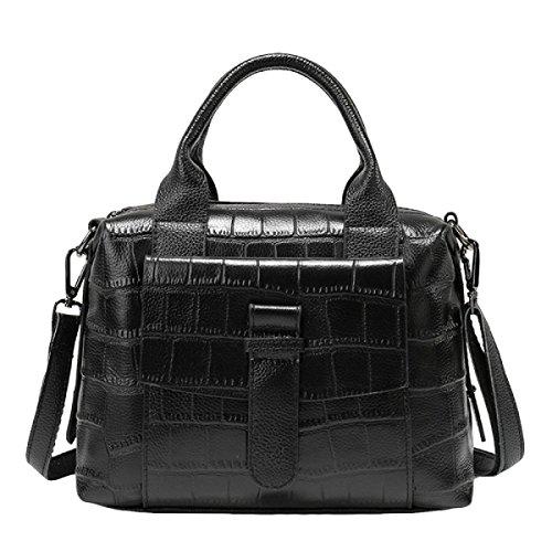 Geprägte Lederhandtaschen Handtasche Schultertasche Messenger Bag Damenmode Tasche Black