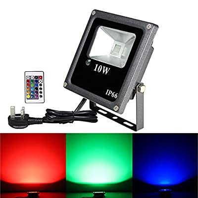 MeiKee 10W Remote Control RGB LED Flood Lights, Color Changing Security Light, 16 Different Colors tones, UK Plug, IP66 Waterproof, Floodlight, Security Lights, Wall Light[Energy Class A+] produced by MeiKee - quick delivery from UK.