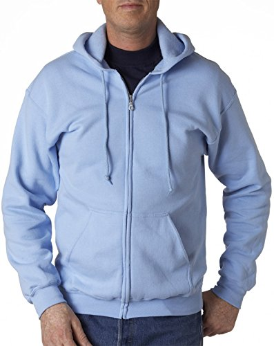 end 8 oz. 50/50 Full-Zip Hood(G186)-LIGHT BLUE-3XL ()
