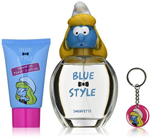 First American Brands Blue Style Die Schlümpfe Schlumpfine 100 ml Eau de Toilette + 75 ml Duschgel + Schlüsselanhänger Geschenkset für Kinder, 1er Pack (1 x 100 ml)