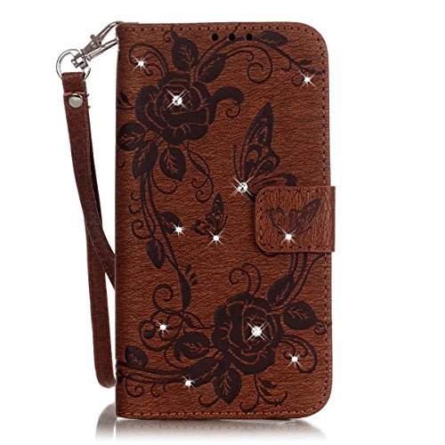 iPhone Case Cover Gemalte Farben-Diamant-Muster-Mappen-Art-Fall-magnetische Entwurfs-Schlag-Folio PU-lederner Abdeckungs-Standplatz-Abdeckungs-Fall für IPhone 6S plus 5.5 Zoll ( Color : Rose , Size :  Brown