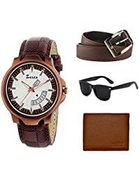 Zesta Combo Pack of a Brown Analogue Watch with a Sunglass, a Wallet and a Belt for Men and Boys