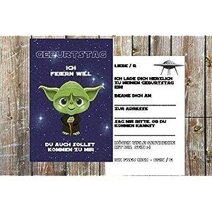 Star Wars Einladungskarten zum Kindergeburtstag für Jungen | Geburtstag-Einladungen für Kinder mit Motiv Yoda | Set: 8 Stück