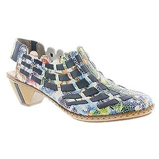Rieker 46778-91 Ladies Block Heel Shoes Ocean/Multi 37