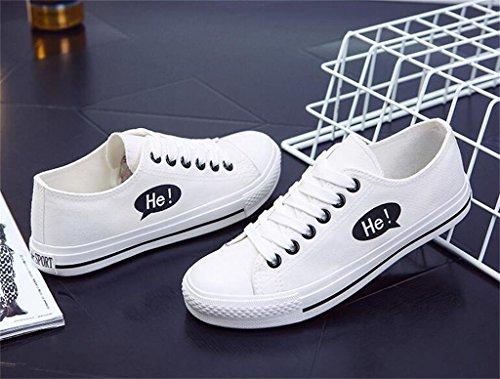ALUK- Printemps et automne toile Chaussures Casual Shoes Chaussures étudiants coréens ( couleur : Noir , taille : 37 ) Blanc