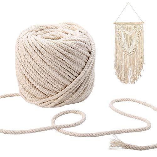 CozofLuv Makramee Garn Garn Baumwolle Kordel Baumwollegarn Baumwollschnur Rope für DIY Handwerk Basteln Wand Aufhängung Pflanze Aufhänger (180m * 3mm)