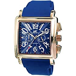 Adee Kaye Comfort Zone Herren-Armbanduhr 58mm Armband Silikon Blau Gehäuse Edelstahl Quarz AK7231-MRG-BU