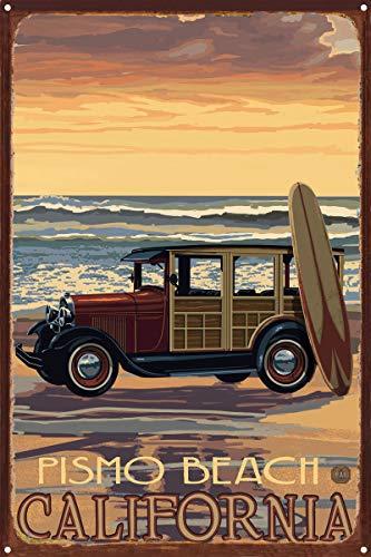 Northwest Art Mall Pismo Beach California Auto mit Surfbrett Rustikal Metall Kunstdruck von {Künstler. fullname} ({outputsize. shortdimensions}) 12x18 inch