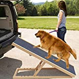 XEMQENER Solid Wooden Pet Ramp Car Dog Ladder - Height Adjustable with Non-slip
