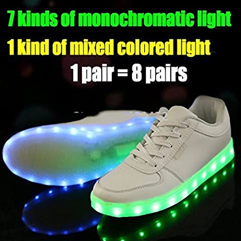 7 Colors LED Luminous Shoes Unisex Sneakers Men & Women Sneakers Usb Charging Light Shoes Colorful Glowing Leisure Flat Shoes (Us Size 6) by shihua