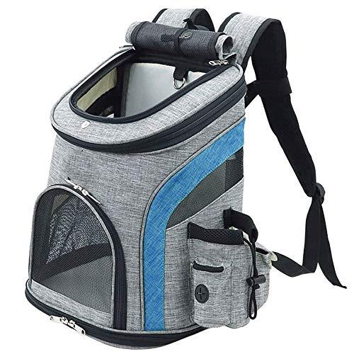 MUBAY Deluxe Pet Carrier Rucksack for kleine Katzen und Hunde, Welpen |Belüftetes Design, Sicherheitsmerkmale und Rückenpolster |für Reisen, Wandern (Color : Blue, Size : M) - Blau Lammfell Brieftasche