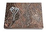 MEMORUM Grabmale Grabtafel, Grabplatte, Grabstein, Grabkissen, Urnengrabstein, Liegegrabstein Modell Pure 40 x 30 x 3-4 cm Paradiso-Granit, Poliert inkl. Gravur (Aluminium-Ornament Lilien)
