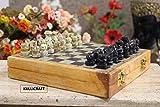 KC KULLICRAFT Wooden Handicraft Marble Chess Board Set Folding (20x20)