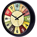 President Plastic Palm Wooden Look Wall Clock Clocks for Living Room Stylish Home Big Size Bedroom 1203 Latest Multicolour, 1