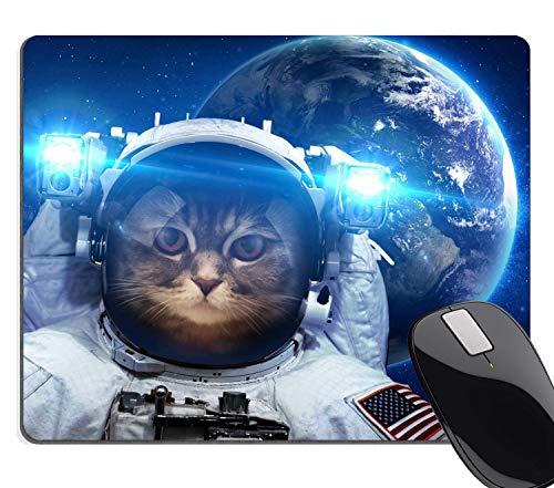 Muccum Anti-Rutsch-Mauspad für Büro, Astronaut, Katze, Nebel, Galaxie, Weltraum