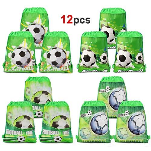 Howaf Fußball Kindergeburtstag Tüten Mitgebsel Geschenktütchen Partytüten Kordelzug Rucksack Turnbeutel für Kinder Mädchen Jungen Fußball Geburtstag Deko, Set von 12