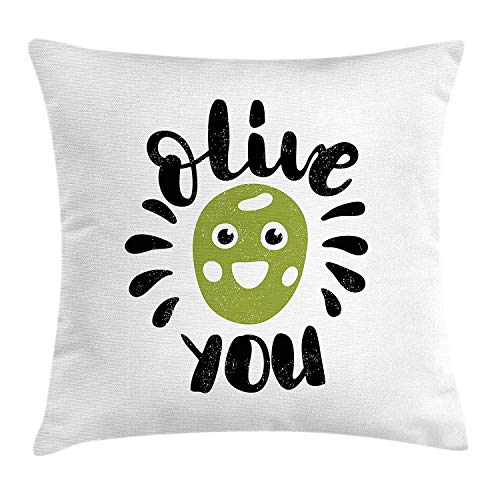 Quote Throw Pillow Cushion Cover, Olive You Calligraphic Phrase with a Funny Smiling Face Grungy Look, Decorative Square Accent Pillow Case, 18 X 18 inches, Olive Green Black and White