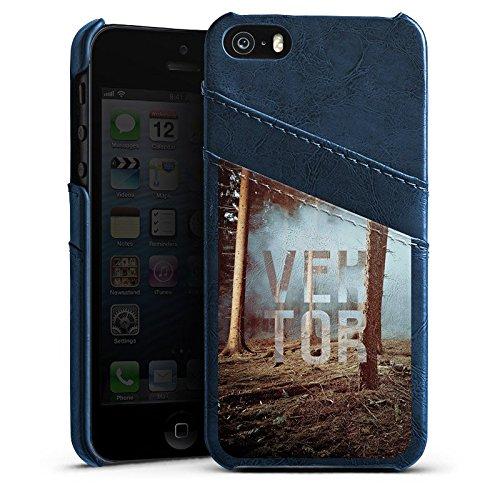 Apple iPhone 4s Housse Étui Silicone Coque Protection VEKTOR Arbres Forêt Étui en cuir bleu marine
