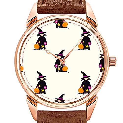 rzuhr Business wasserdicht leuchtende Uhr Herren braun Leder Uhr Ghost White Off-White Halloween Kleinkind Hexe Armbanduhr ()