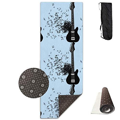 Bag shrot Yoga Mat Non Slip Music Notation 24 X 71 Inches Premium Fitness Exercise Pilates Carrying Strap Pro-lite Cap