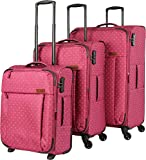 travelite Campus 4-Rad Trolley-Set 3-tlg 17 gepunktet pink