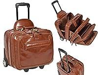 REAL Chestnut Leather Pilot Case Trolley Bag Laptop Business Travel Weekend Cabin Bag AL1