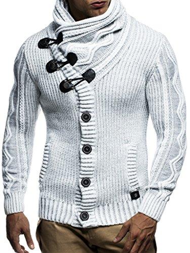 LEIF NELSON Herren Strickjacke Kapuzenpullover Pullover Hoodie Sweatshirt Longsleeve Winterjacke Pulli Sweater Langarm LN5065N; Größe L, Grau |