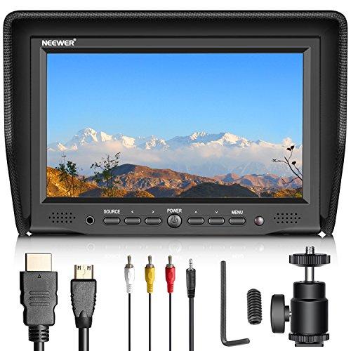 Neewer 7 Pulgadas Monitor de Campo en Cámara con Pantalla IPS de Entrada AV/VGA/HDMI 800: 1*Contraste 800 X 480 de Alta Resolución para Canon Nikon Sony Olympus Pentax Panasonic y Otros(NW708-M)