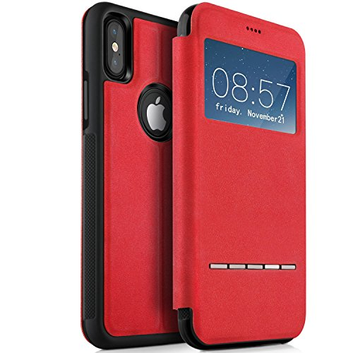 iPhone X Hülle, KuGi iPhone X Premium Deer Leder Flip Bookstyle Cover mit komplettem Schutz [S View] [Magnetischer Knopf] [Stand Funktion] Cover Case für iPhone X Smartphone (Rot) Rot