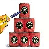 Zolimx Lernspielzeug, EVA Soft Bullet Target für NERF N-Strike Blaster Packung mit 12 Stück (Rot)