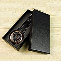 Dxtxx Single Watch Box, Paper Jewelry Display Storage Box, Foam Cotton Shaping, Square Design,Black