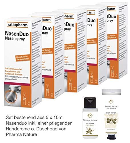 Nasenduo Nasenspray 5 x 10 ml Sparset inkl. einer pflegenden Handcreme o. Duschbad von Pharma Nature