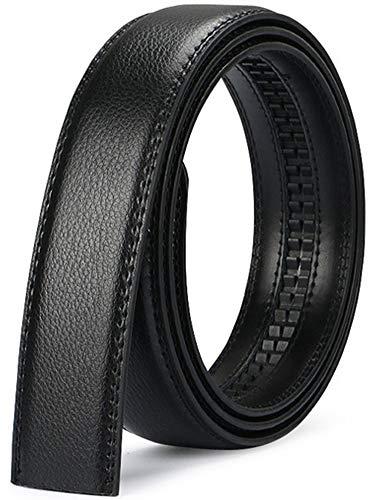 Wetoper hombres moda lujo cuero cintura cinta automática cintura correa sin Hebilla, 3,5 cm de ancho (Color 10, 130cm/34-44' cintura ajustable)