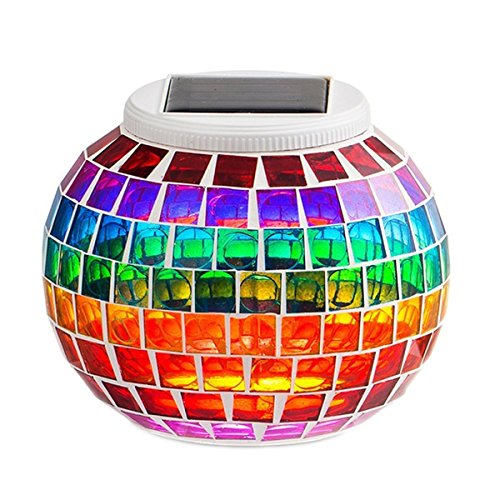 SUAVER Solar Powered Mosaic Glass Ball Garden Lights,Color Changing Solar Table Lamps Waterproof Automatic Operation Solar Outdoor Lights for Christmas,Home,Yard, Patio Decorations (Rainbow)