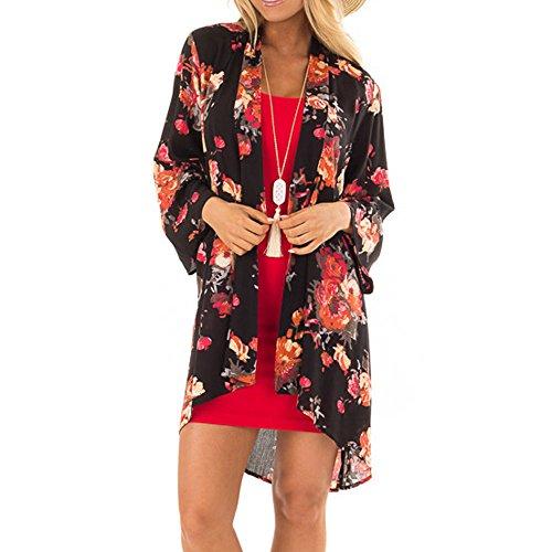 JYJM 2018 Frauen Elegant Kleid Knielang Freizeitkleid Rundhals Casual Alltags Kleid mit Spitze Patchwork Langarm A Linie Partykleid mit GürtelSommer Plus Size Strand Floral Chiffon Kimono