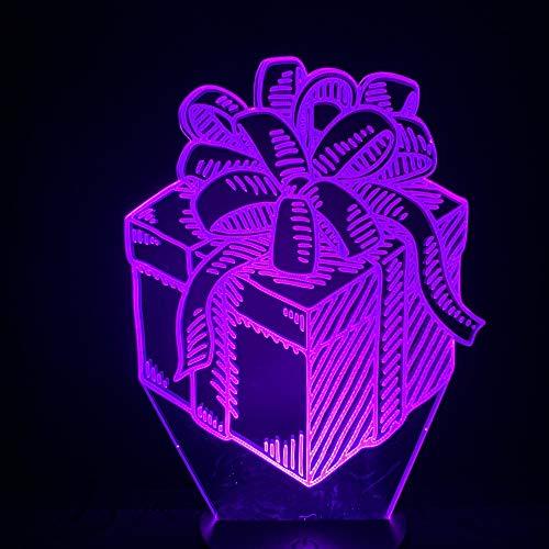 3d Nachtlicht Lampe,3D Lampe Schlafzimmer Schreibtisch Geschenkbox Mit Bowknot Hübsches Geschenk Dekorative Usb Mit Sensor Kinder Lehrer Nacht Led Nachtlicht