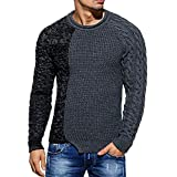 OSYARD Herren Strickpullover Oberteile Sweater, Mode Männer Strickpulli Herbst Winter Pullover Raglan Patchwork Strick Bluse Tops Shirt Rundhals Knit Pulli Hemd Tunika Warm Strickwaren Strickcardigan