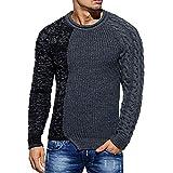 UFACE Mode Herren Herbst Winter Pullover Gestrickte Raglan Patchwork Pullover Bluse Top (, Dunkel)