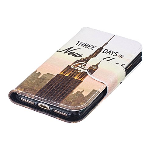 """MOONCASE iPhone 7 Coque, [Black Fleur] Modèle Housse Pochette en Cuir Etui à rabat portefeuille [Porte-cartes] TPU Case avec Béquille pour Apple iPhone 7 4.7"""" New York"""